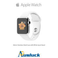 "APPLE WATCH 38MM STAINLESS STEEL CASE WITH WHITE SPORT BAND ""AUSLUCK"""