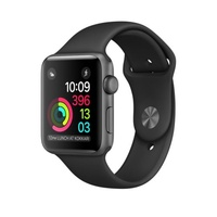 "APPLE WATCH SPORT SERIES 2 38MM SPACE GREY ALUMINIUM CASE BLACK ""AUSLUCK"""