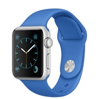"APPLE WATCH SPORT 38MM SILVER ALUMINIUM CASE ROYAL BLUE SPORT BAND ""AUSLUCK"""