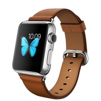 "APPLE WATCH 38MM STAINLESS STEEL CASE WITH SADDLE BROWN MODERN BUCKLE ""AUSLUCK"""