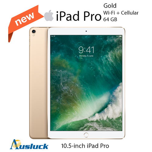 "APPLE iPAD PRO 64GB Wi-Fi + CELLULAR 10.5"" GOLD MQF12X/A 2017 MODEL ""AUSLUCK"""