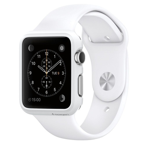 "APPLE WATCH 42MM STAINLESS STEEL WITH WHITE SPORT BAND [SERIES 1] ""AUSLUCK"""